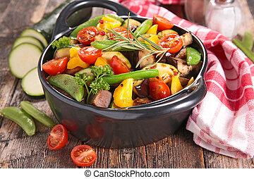 asado, vegetales