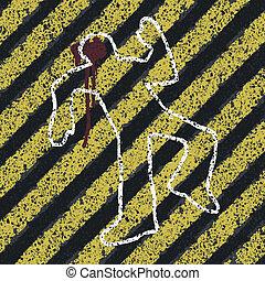asesinato, silueta, illustration., accidente, escena, peligro, crimen, concepto, vector, amarillo, eps8, lines., o, prevención