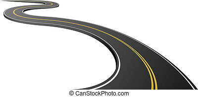 asfalto, resumen, aislado, fondo., blanco, camino