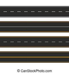 Asfalto. Tipos de carretera con marcas. Diseño de plantilla de bandas de autopistas para información gráfica. Ilustración de vectores