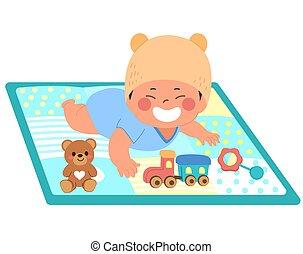 asiático, estera, bebé, juego