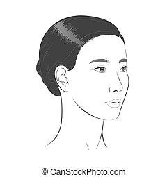asiático, negro, retrato, bosquejo, blanco, face., frente, línea, mujer