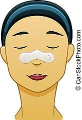 asiático, tira, nariz, black-haired, poro, mujer