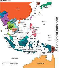 Asia sureste con países editables, nombres