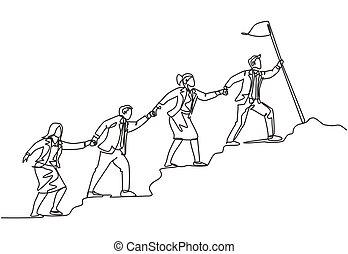asideros, diseño, alcance, ilustración, línea, cima, miembro, su, vector, continuo, palo, concepto, equipo, solo, juntos, uno, líder, hill., bandera, trabajo en equipo, macho, empate, hembra, dibujo, seguir