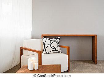 Asiento cómodo y blanco