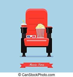 Asiento de cine con palomitas de maíz y copas