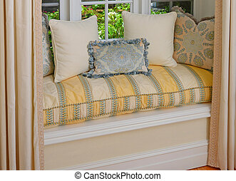 asientos, asiento, decorativo, ventana de bahía, área, cojines, almohadas
