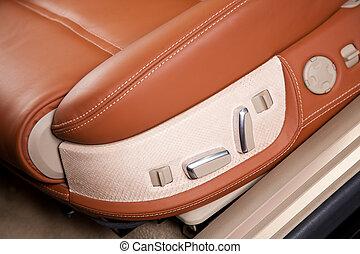 Asientos de pasajeros en coche moderno y cómodo, cierren la foto