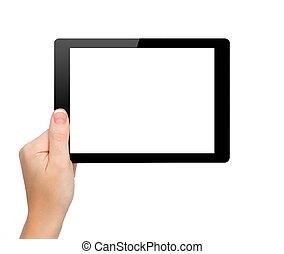 asimiento, mujer, tableta, aislado, pantalla, mini, mano