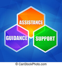 Asistencia, apoyo, guía en hexágonos, diseño plano