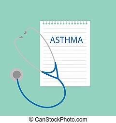Asma escrito en el cuaderno