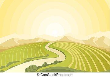 Asombroso paisaje del amanecer sobre campos en el campo