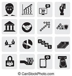 assets-, esto, tarjetas, representar, y, empresa / negocio, money(cash), graphic., creación, riqueza, cuenta, icons(signs), relacionado, vector, banco, inversiones, riqueza, banca, dinero del ahorro, ilustración, también, lata, ahorros
