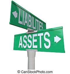 Assets vs libilidades de dos caminos contables de carretera
