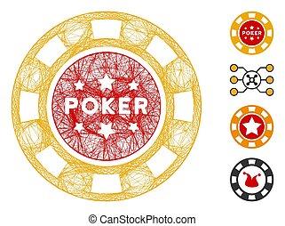 astilla, casino, vector, red, malla, póker
