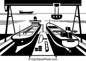 astillero, diques, grúas