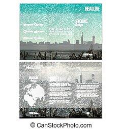 Astillero y paisaje urbano. Brochure, volante triple o folleto de negocios. Diseño moderno de vectores de diseño en ambos lados