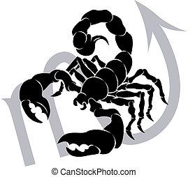 astrología, zodíaco, señal, horóscopo, escorpión