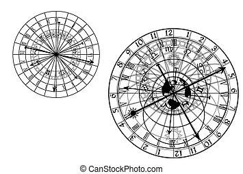 astronómico, vector, -, reloj