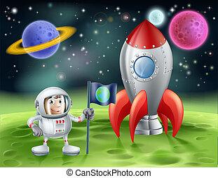 Astronauta de dibujos animados y cohete antiguo