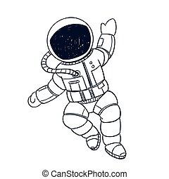 astronauta, vector, garabato