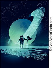 Astronauta y sistema planetario