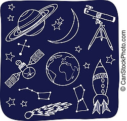Astronomía, el espacio y la noche son objetos