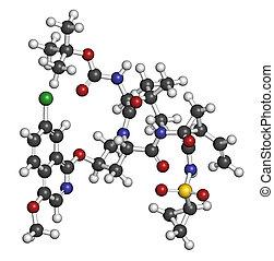 Asunaprevir hepatitis C virus (HCV) molécula de drogas. Los átomos son reputación