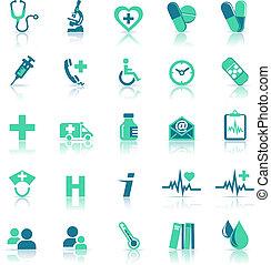 Asuntos de salud en verde médico