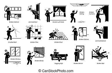 asuntos, pictogram, icons., casa, problemas, estructural, figura palo, defectos