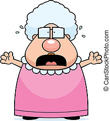 Asustada abuela