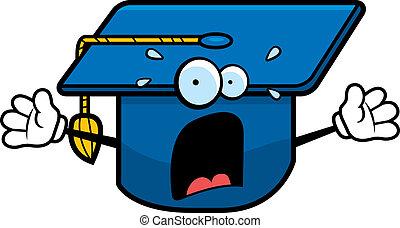 Asustada gorra de graduación