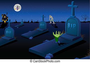 asustadizo, cementerio