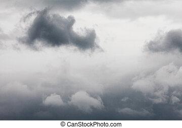 asustadizo, cloudscape, cielo, nublado, oscuridad, strom