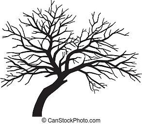 asustadizo, descubierto, silueta, árbol, negro