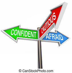asustado, tres, confiado, 3, cauteloso, manera, señales