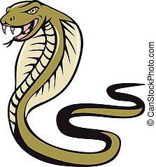 atacar, cobra, serpiente, víbora, caricatura