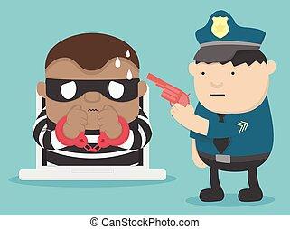 ataque, arresto, cyber, ilustración, criminal