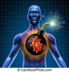 ataque cardíaco, bomba, humano, tiempo