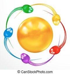 Ataque de esperma. Un concepto colorido aislado en el fondo blanco.