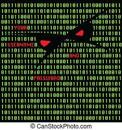 ataque, pirata informático, ilustración, vector