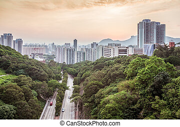 Atardecer en zona residencial de Hong Kong