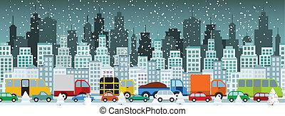 Atasco de tráfico en la ciudad.