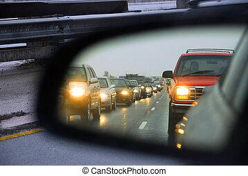 atasco, tráfico, espejo