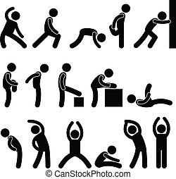 atlético, estirar, ejercicio, gente