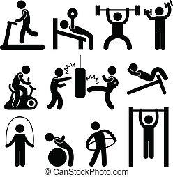 atlético, gimnasio, gimnasio, ejercicio
