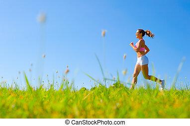 atlético, mujer, ejercitar