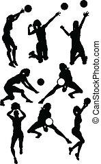 atlético, siluetas, posturas, hembra, voleibol