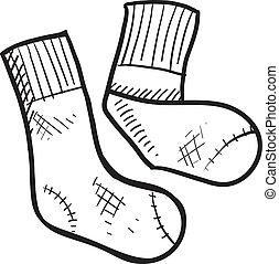 atlético, tubo, calcetines, bosquejo